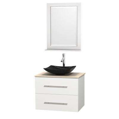 Centra 30 in. Vanity in White with Marble Vanity Top in Ivory, Black Granite Sink and 24 in. Mirror