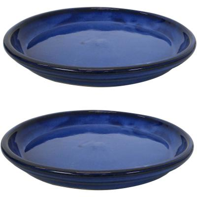 14.25 in. Imperial Blue Ceramic Planter Saucer (Set of 2)