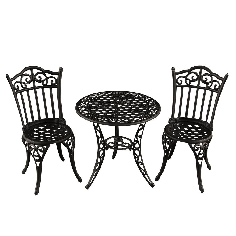 Charmant Ornate Traditional 3 Piece Aluminum Outdoor Patio Garden Bistro Set In Sand  Black