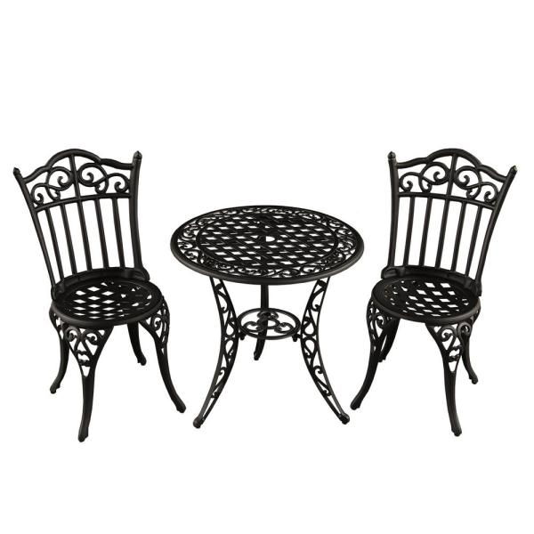 Ornate Traditional 3-Piece Aluminum Outdoor Patio Garden Bistro Set in Sand Black
