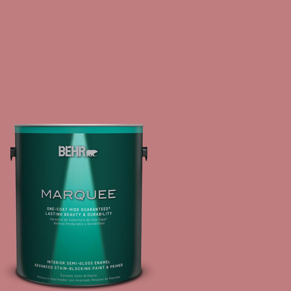 BEHR MARQUEE 1 gal. #MQ1-12 Chick Flick One-Coat Hide Semi-Gloss Enamel Interior Paint