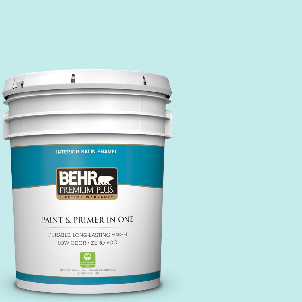 5-gal. #P460-1 Morning Sky Satin Enamel Interior Paint