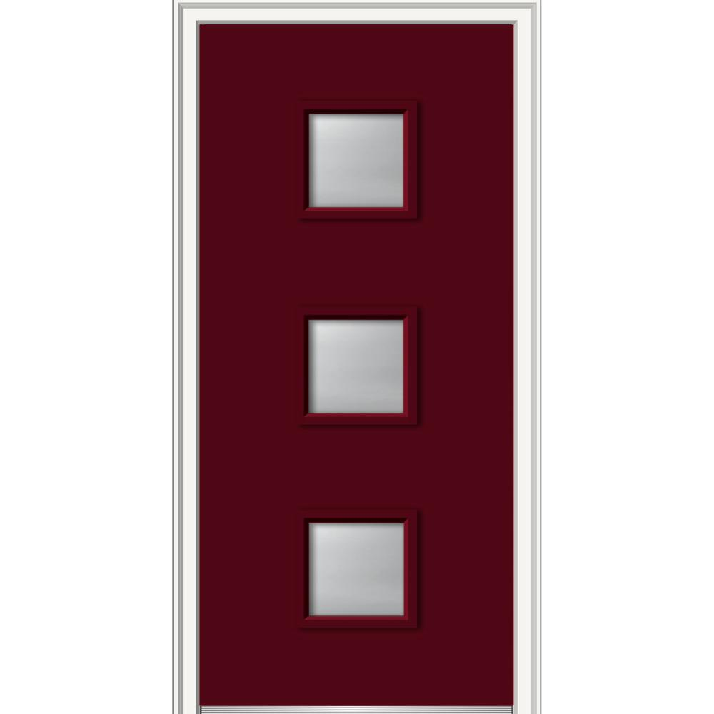 MMI Door 30 in. x 80 in. Aveline Right-Hand Inswing 3-Lite Frosted Painted Fiberglass Smooth Prehung Front Door, 4-9/16 in. Frame