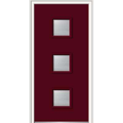 36 in. x 80 in. Aveline Left-Hand Inswing 3-Lite Frosted Glass Painted Steel Prehung Front Door on 4-9/16 in. Frame