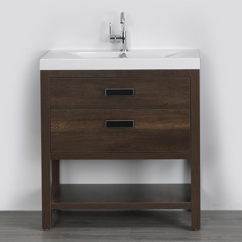 Streamline 31.5 in. W x 32.4 in. H Bath Vanity in Brown with Resin Vanity Top in White with White Basin