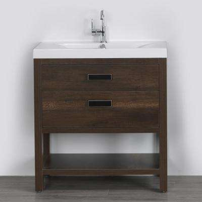31.5 in. W x 32.4 in. H Bath Vanity in Brown with Resin Vanity Top in White with White Basin