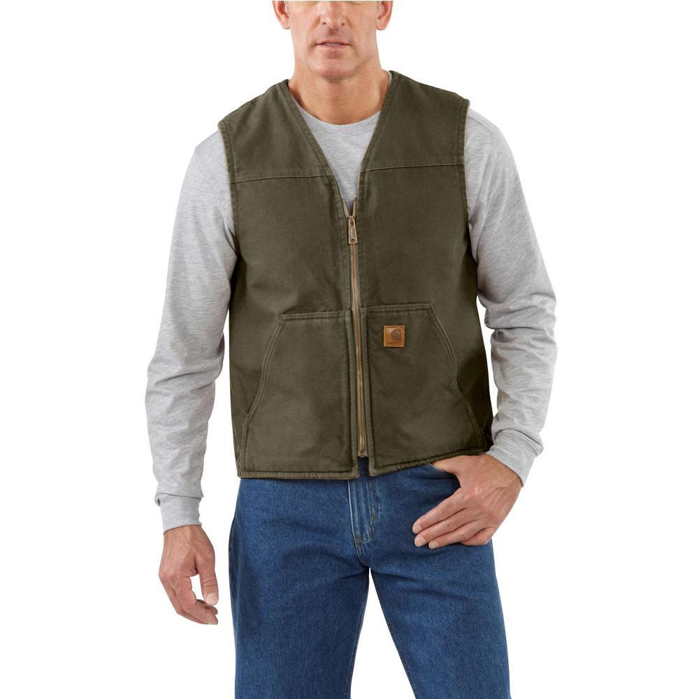Men's Large Moss Cotton Rugged Vest Sherpa Lined Sandstone