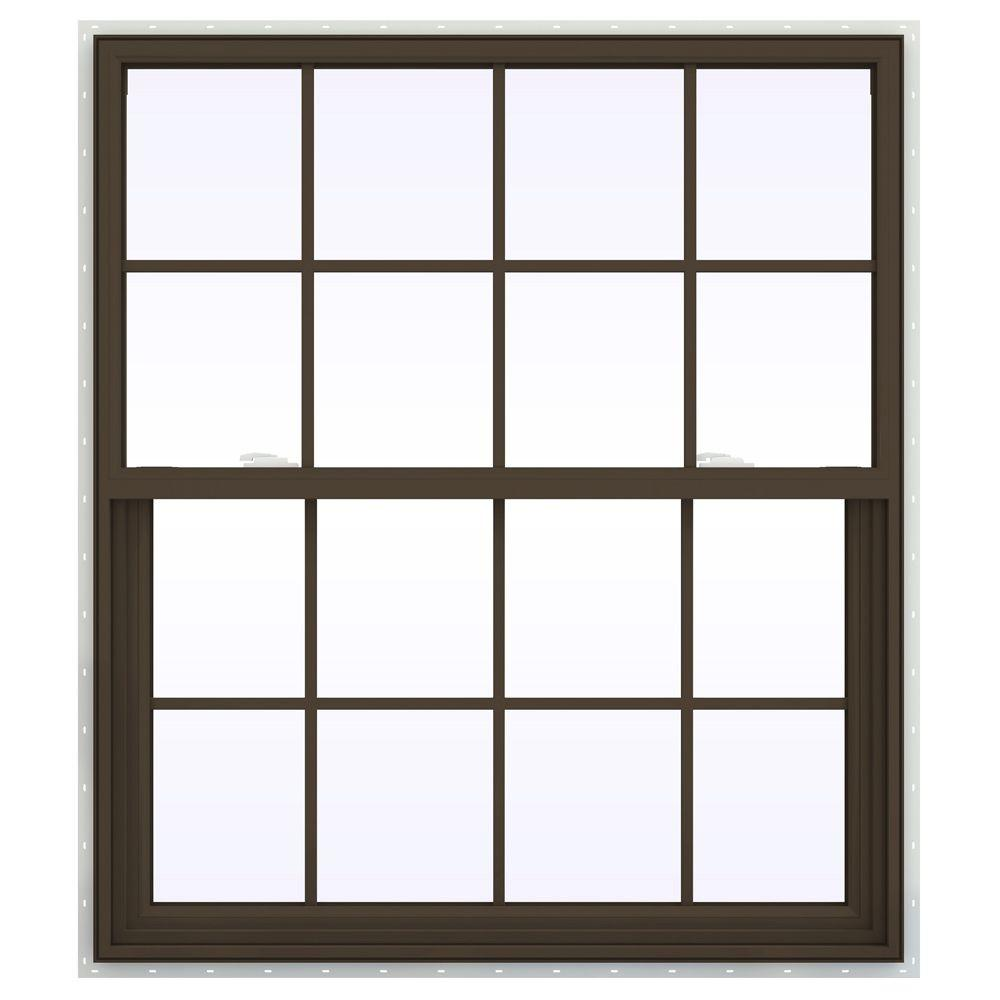 JELD-WEN 41.5 in. x 47.5 in. V-2500 Series Single Hung Vinyl Window with Grids - Brown