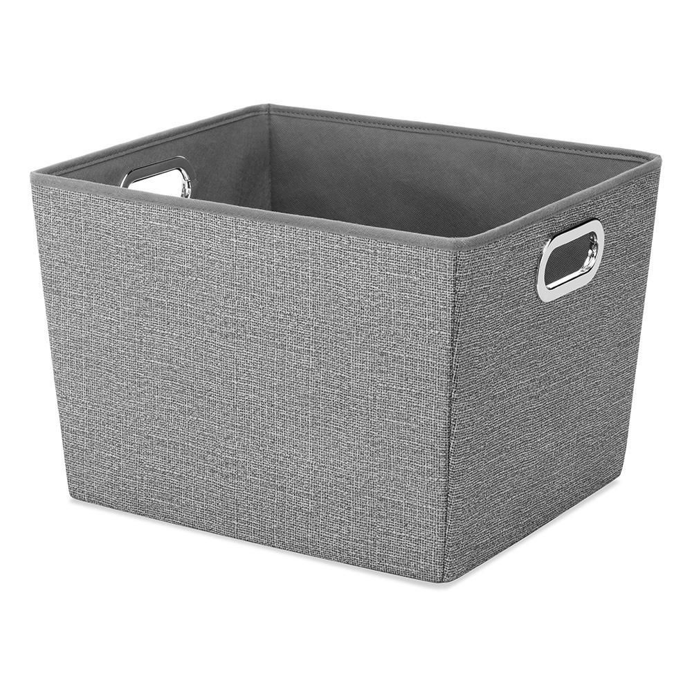 Superb Crosshatch Gray Storage Bin