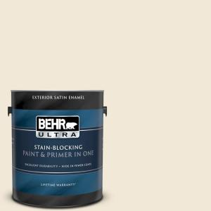 Behr Ultra 1 Gal 13 Cottage White Satin Enamel Exterior Paint And Primer In One 985001 The Home Depot