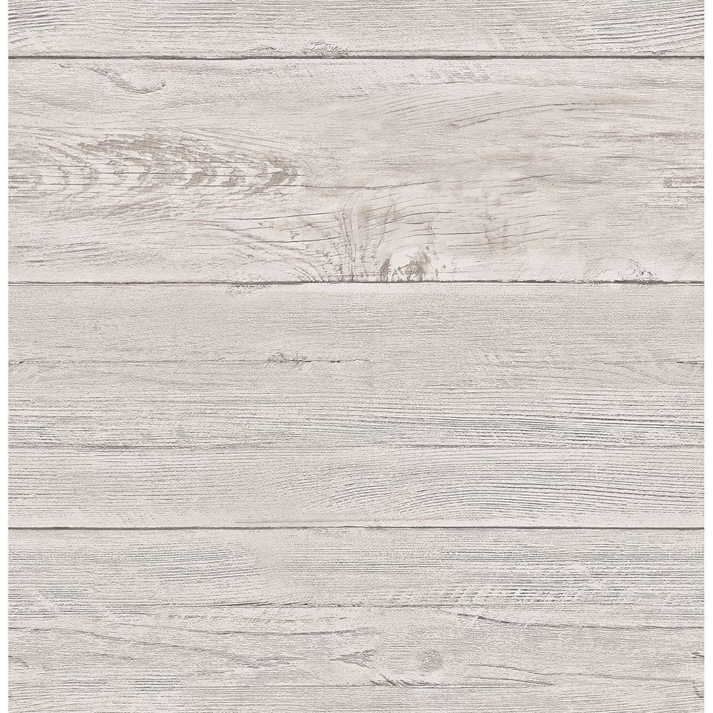 Brewster Brewster 56.4 sq. ft. Colleen Dove Washed Boards Wallpaper, Grey
