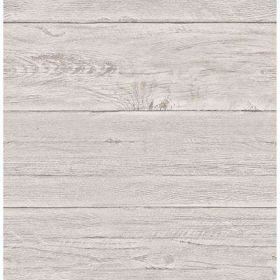 Grey White Washed Boards Shiplap Wallpaper