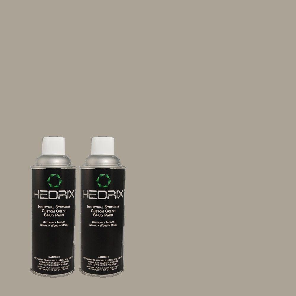 Hedrix 11 oz. Match of B-2 Cobblestone Grey Semi-Gloss Custom Spray Paint (2-Pack)