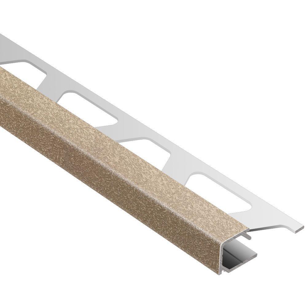 Quadec Beige Textured Color-Coated Aluminum 1/2 in. x 8 ft. 2-1/2 in. Metal Square Edge Tile Edging Trim