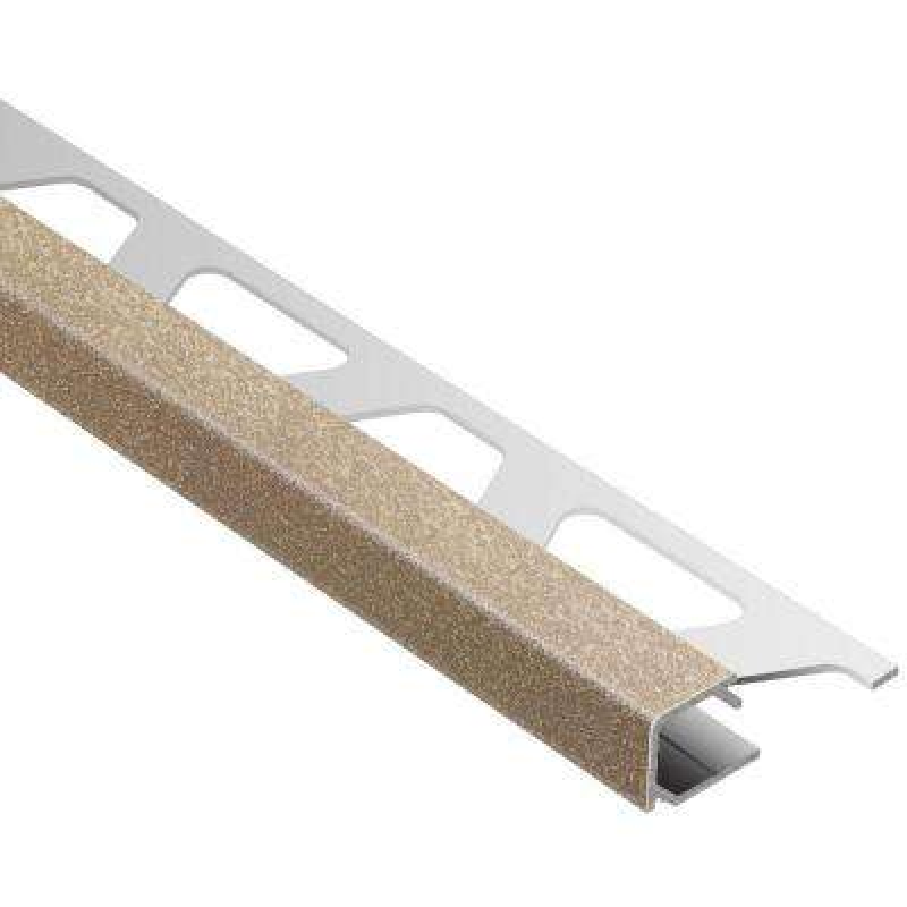 Quadec Beige Textured Color-Coated Aluminum 5/16 in. x 8 ft. 2-1/2 in. Metal Square Edge Tile Edging Trim