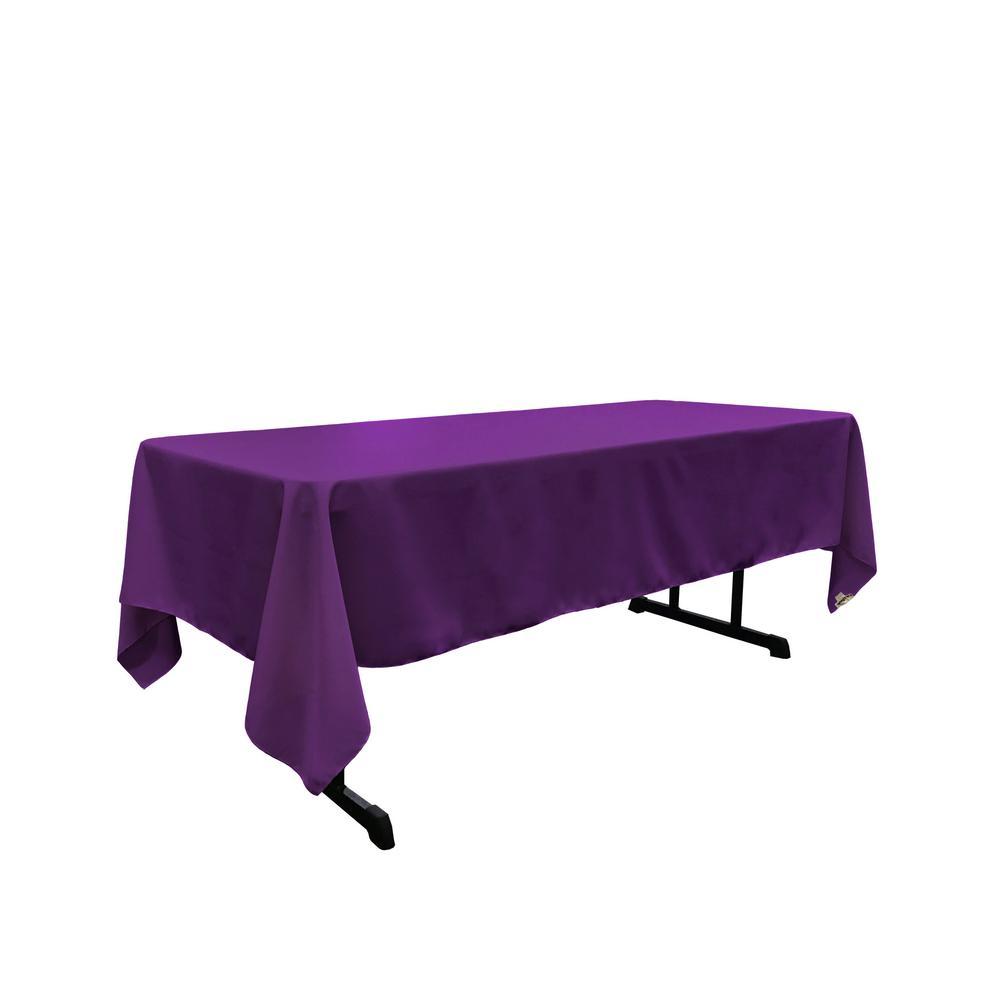 Polyester Poplin 60 in. x 126 in. Purple Rectangular Tablecloth