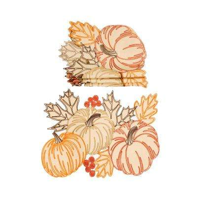 0.1 in. H x 20 in. W x 14 in. D Pumpkin Party Embroidered Cutwork Placemats (Set of 4)