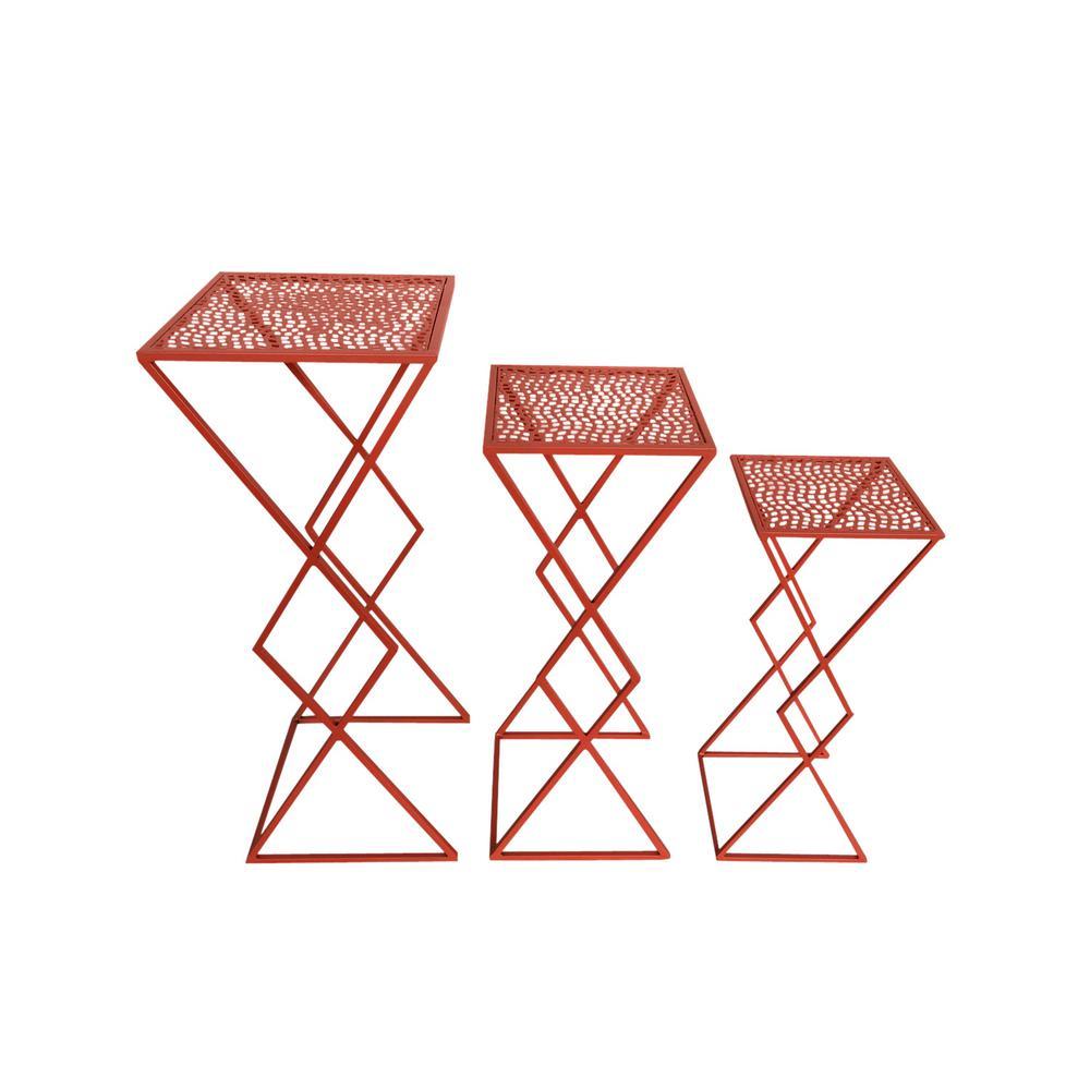 Orange Metal Plant Stand (Set of 3)