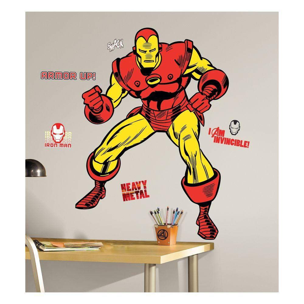 null 5 in. x 19 in. Marvel Classic Iron Man Peel and Stick Giant Wall Decals