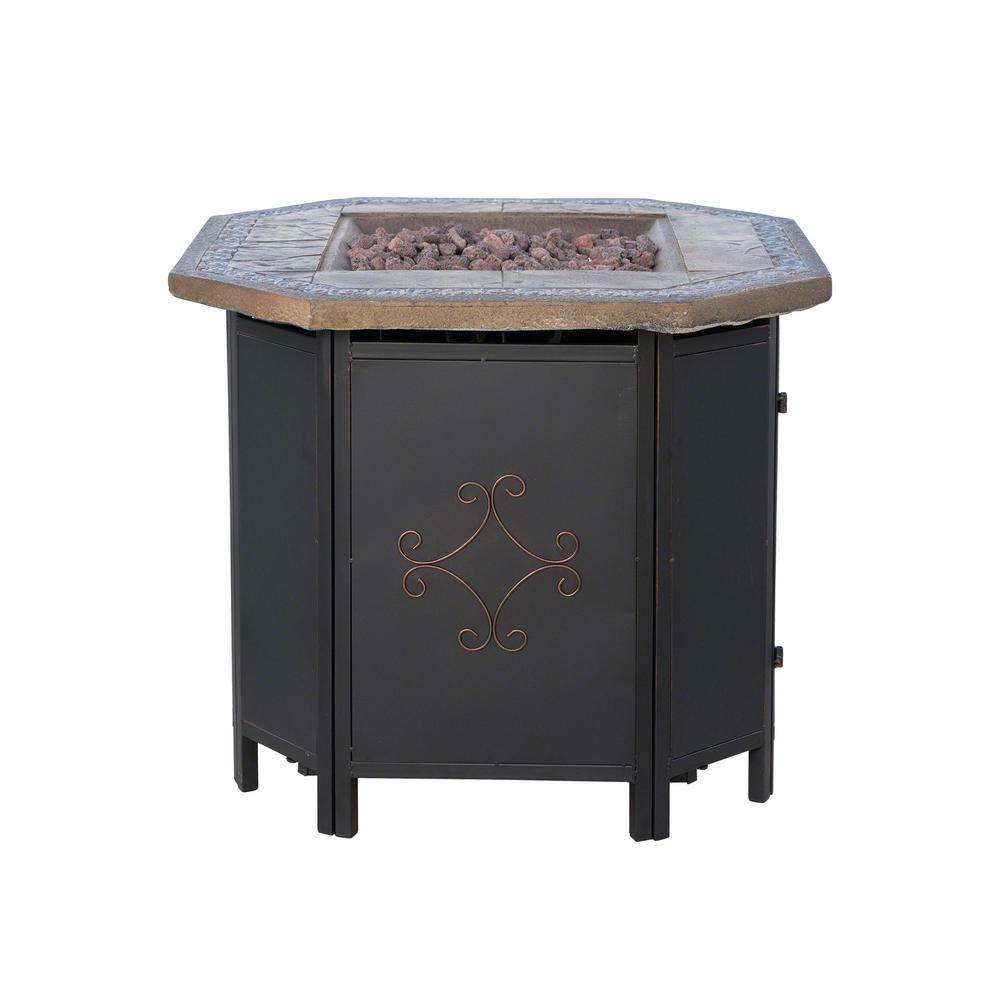 Noble House Thiago 30 in. x 24 in. Octagonal MGO LPG Fire Pit in Copper