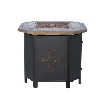 Thiago 30 in. x 24 in. Octagonal MGO LPG Fire Pit in Copper