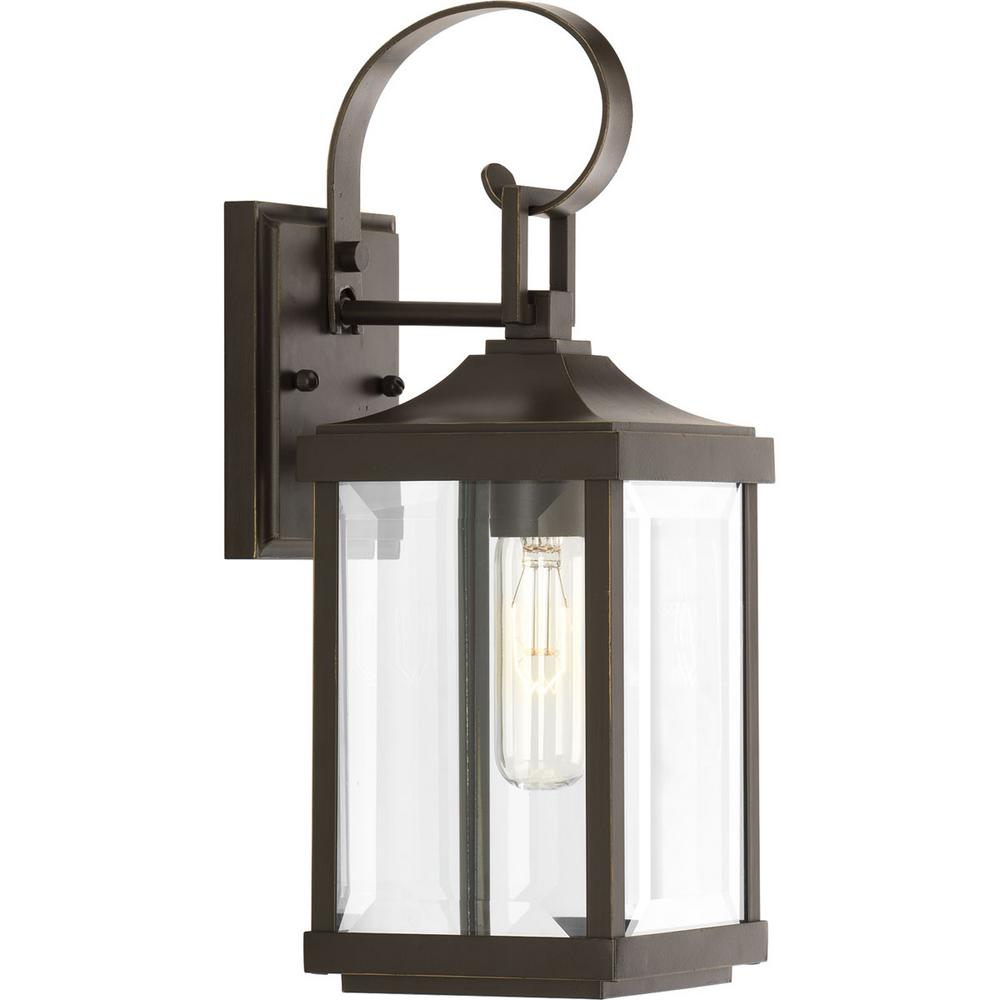 Progress Lighting Gibbes Street Collection 1 Light Antique Bronze 15 In Outdoor Wall Lantern