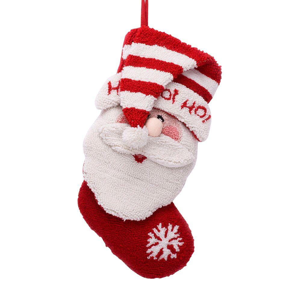 Glitzhome 20 in. Polyester/Acrylic Hooked Christmas Stocking with 3D ...