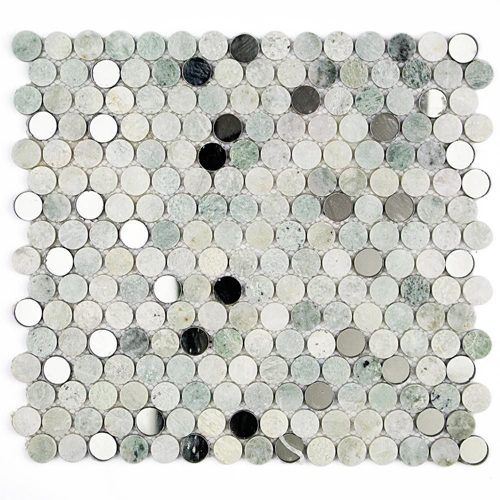 Splashback tile mirage penny round green in x for What size ceiling fan for 12x12 room