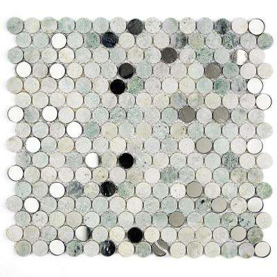 Mirage Penny Round Green 11.25 in. x 12.75 in. x 8 mm Marble and Glass Wall Mosaic Tile