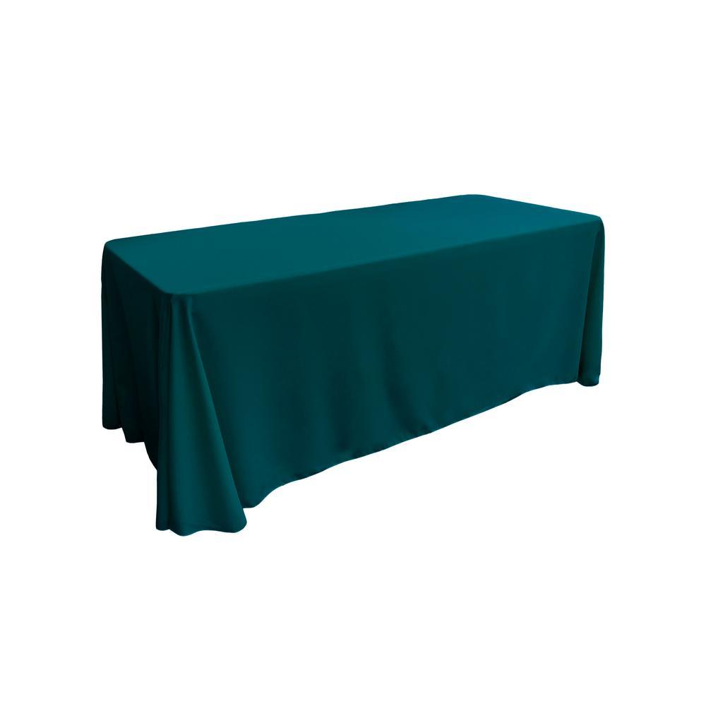 90 in. x 132 in. Dark Teal Polyester Poplin Rectangular Tablecloth
