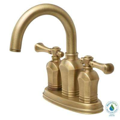 Verdanza 4 in. Centerset 2-Handle High-Arc Bathroom Faucet in Antique Brass