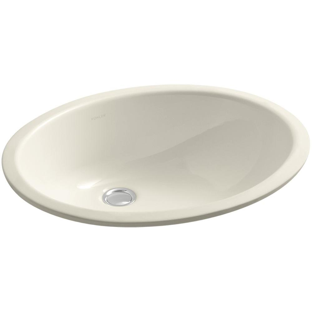 KOHLER Caxton Vitreous China Undermount Bathroom Sink with Overflow Drain in Almond with Overflow Drain