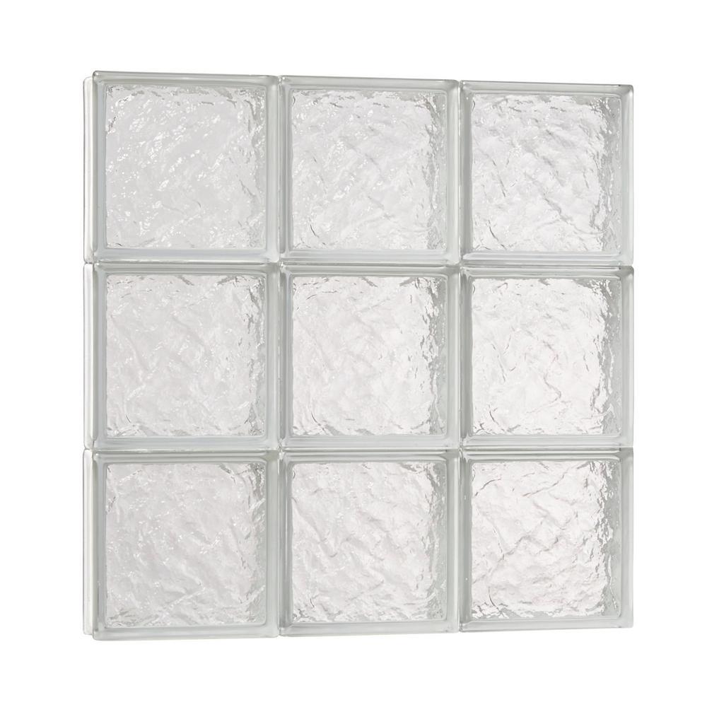 23.25 in.  x 23.25 in. x 3.125 in. Ice Pattern Solid Glass Block Masonry Window