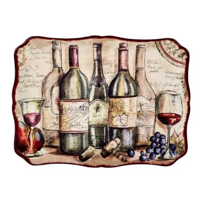 Vintners Journal Multi-Colored 16 in. x 12 in. Ceramic Rectangular Platter