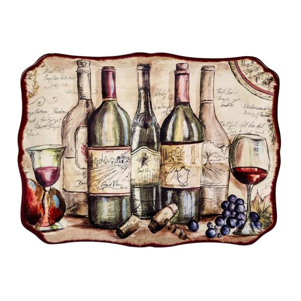 Certified International Vintners Journal Multi-Colored 16 in. x 12 in. Ceramic Rectangular Platter