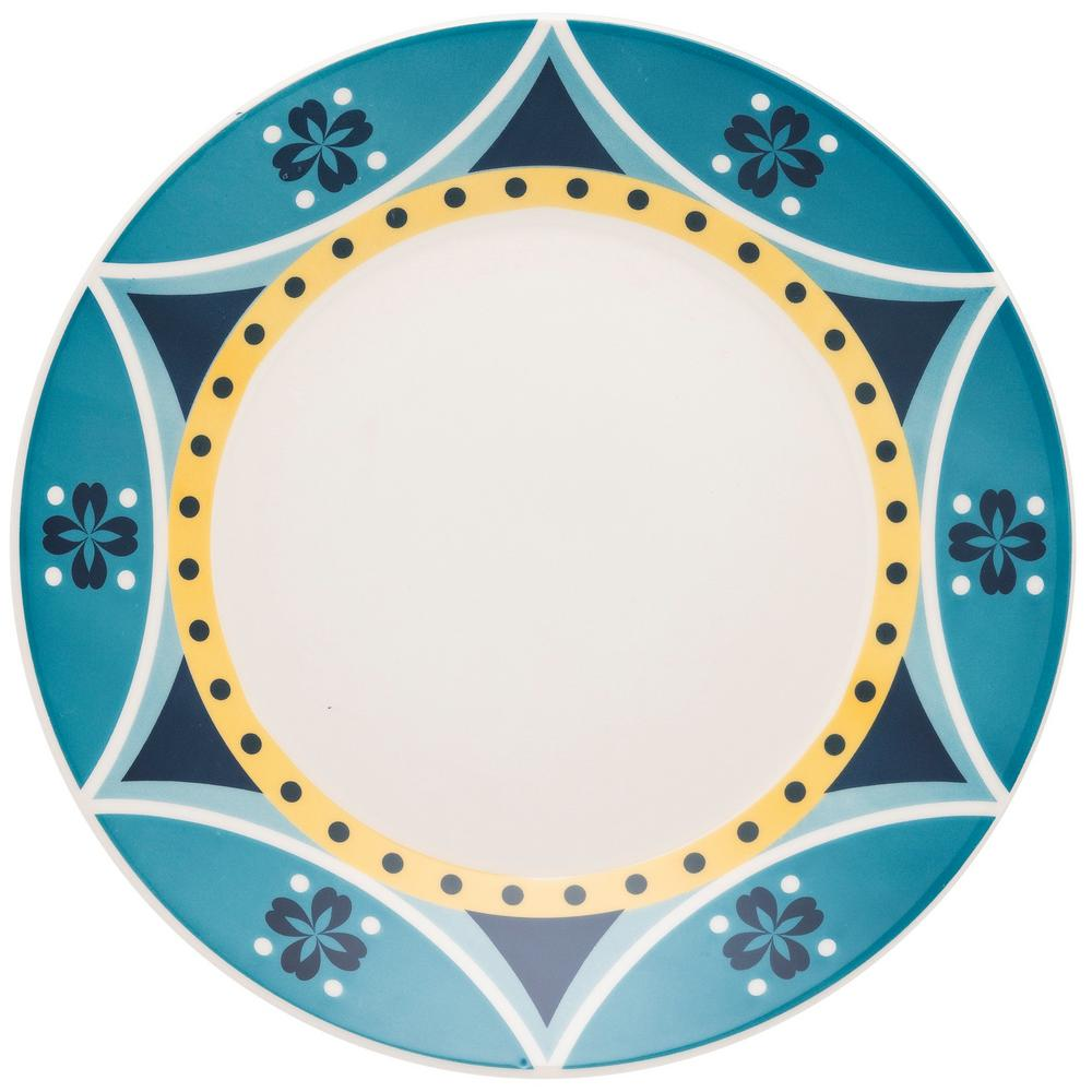 Manhattan Comfort 10.24 in. Actual Yellow and Blue Dinner Plates (Set of 12) was $129.99 now $70.02 (46.0% off)