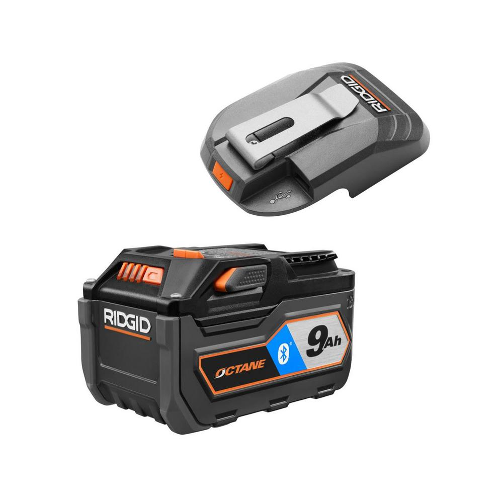 RIDGID 18-Volt OCTANE Bluetooth 9.0 Ah Battery with 18-Volt USB Portable Power Source with Activate Button was $220.97 now $120.97 (45.0% off)