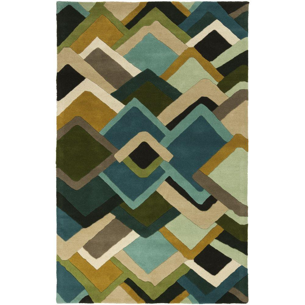 Mike Farrell Green 5 ft. x 8 ft. Area Rug