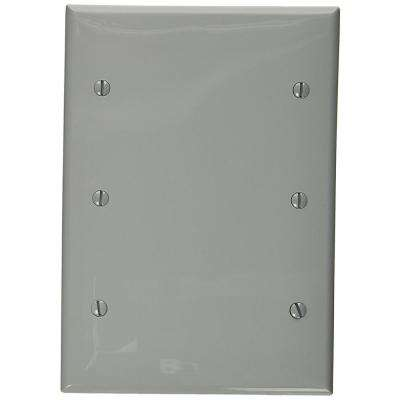 3-Gang No Device Blank Wallplate, Standard Size, Thermoplastic Nylon, Box Mount, Gray