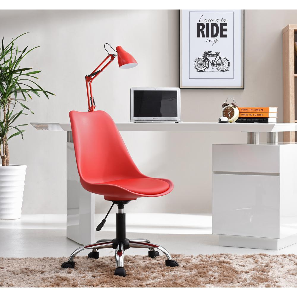 Ordinaire Hodedah Red Armless Swivel Office Desk Chair With Cushion Seat