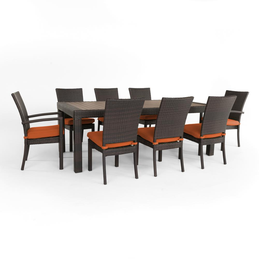 RST Brands Deco 9 Piece Wicker Outdoor Dining Set With Sunbrella Tikka  Orange Cushions