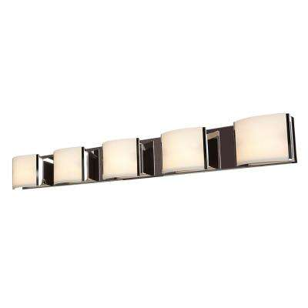 Nitro2 5-Light Brushed Steel Bath Light with Opal Shade