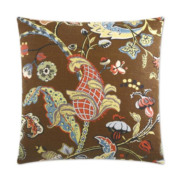 Wilmington Chocolate Floral Down 24 in. x 24 in. Throw Pillow