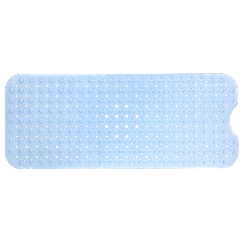 16 in. x 39 in. Extra Long Bath Mat in Light Blue