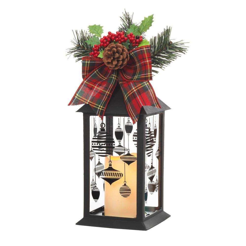 Home accents holiday 13 in black plastic lantern with for 7 candle christmas decoration