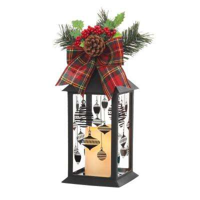 13 in. Black Plastic Lantern with Outdoor Resin Timer Candle