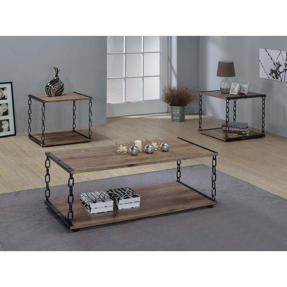 Acme Furniture Jodie Rustic Oak BuiltIn Storage Coffee Table