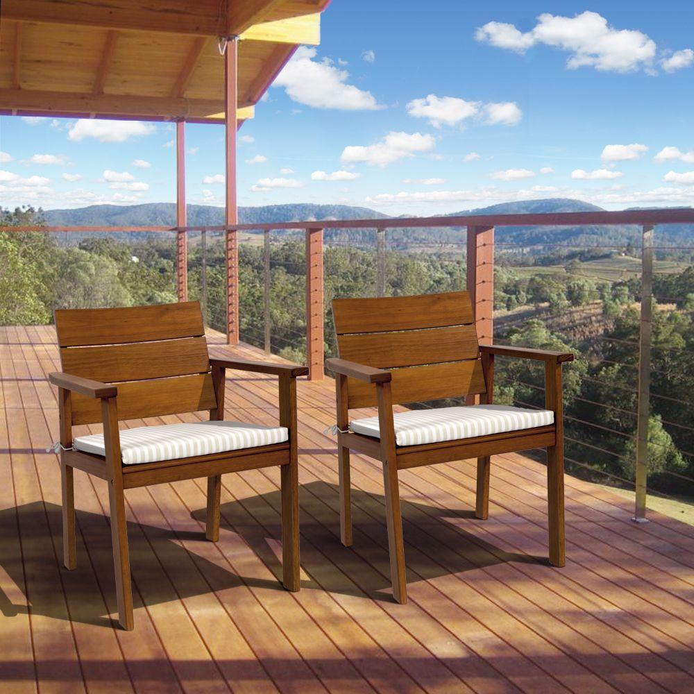 Amazonia Nelson 2 Piece Eucalyptus Easy Carver Patio Chair