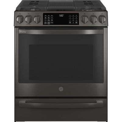 Profile 30 in. 5.6 cu. ft. Slide-In Gas Range with Self-Cleaning Convection Oven and Air Fry in Black Stainless Steel