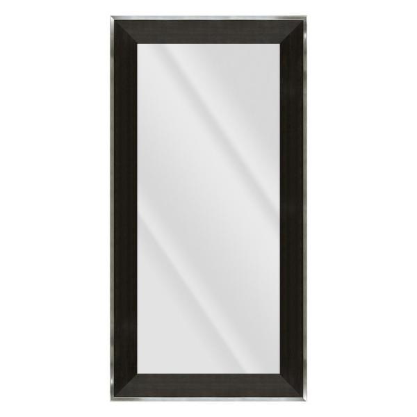 Large Rectangle Distressed Black W/ Silver Beveled Glass Contemporary Mirror (55.5 in. H x 31.5 in. W)